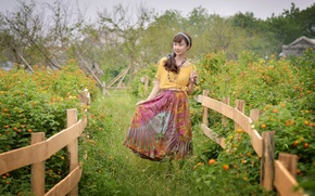 Picture girl, nature, face, the fence, dress, walk, East