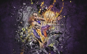Picture Figure, The ball, Basketball, Purple, Lakers, Kobe Bryant, Player, Spalding