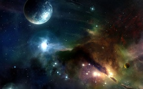 Wallpaper Space, planet, stars