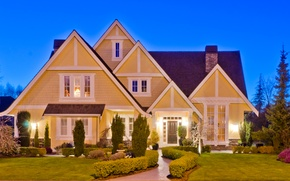 Picture design, lawn, House, backlight, mansion, the bushes