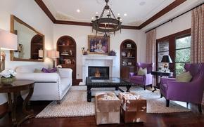 Picture design, sofa, carpet, picture, mirror, fireplace, mansion, table, Design, living room, Interior, Living