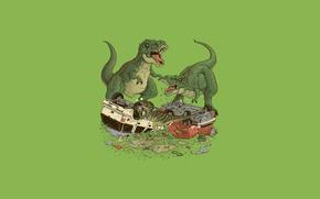 Picture predators, dinosaurs, car