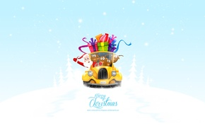 Wallpaper machine, new year, Christmas, gifts, new year, Santa Claus, deer, merry christmas