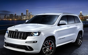 "Picture Night, The city, White, Machine, Jeep, SRT8, Car, Car, Wallpapers, Beautiful, Grand, Wallpaper, Cherokee, ""Limited …"