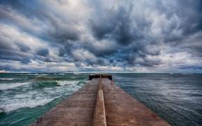 Picture sea, wave, clouds, pierce