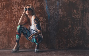 Picture girl, Mike, tattoo, glasses, blonde, girl, model, Photography, Hugo V, Anya Thorne