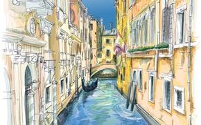 Picture people, Windows, home, Venice, channel, gondola