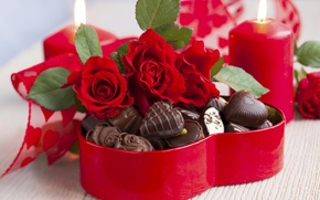 Wallpaper love, flowers, holiday, heart, chocolate, roses, bouquet, candles, candy, red, love, rose, wet, photography, heart, ...