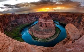 Picture Nature, Clouds, Canyon, Colorado, AZ, USA, Horseshoe (Horseshoe Bend), Crafts of Colorado, Mountain Lake, State