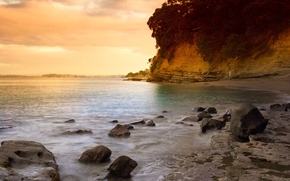 Wallpaper New Zealand, Auckland, beach, sunset