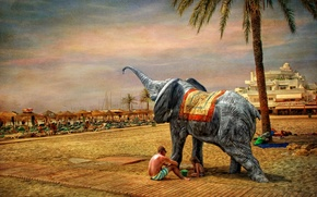 Picture sand, the sky, landscape, people, elephant, resort, canvas