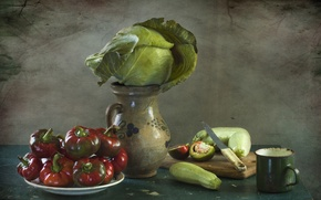 Picture pepper, pitcher, still life, vegetables, cabbage, zucchini