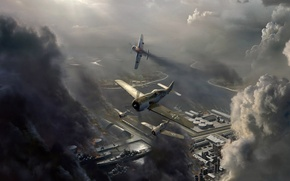 Picture the sky, clouds, the plane, war, airstrike