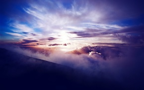 Picture the sun, clouds, sunset, mountains, height, slope, power lines