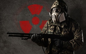 Wallpaper weapons, sign, people, radiation, mask, costume, gloves, form