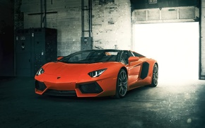 Picture Roadster, Lamborghini, Orange, Front, LP700-4, Aventador, Supercar