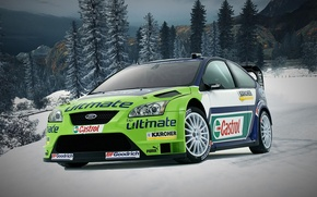 Picture auto, forest, retro, the game, Ford, Winter, need for speed world