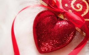 Wallpaper heart, tape, holiday, Christmas decorations, heart, Christmas, red, new year, new year, christmas