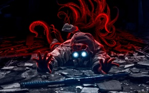 Picture weapons, monster, art, tentacles, gas mask, sniper, romance of the Apocalypse, romantically apocalyptic, alexiuss