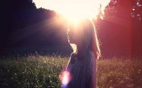 Picture summer, girl, the sun, light