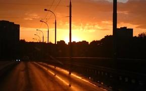 Picture the sun, sunset, orange, the city