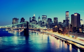 Wallpaper night, bridge, the city, lights, background, Wallpaper, building, construction, New York, skyscrapers, New York City, ...