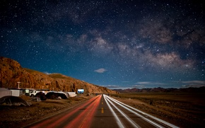 Wallpaper road, the sky, stars, mountains, night, China, china