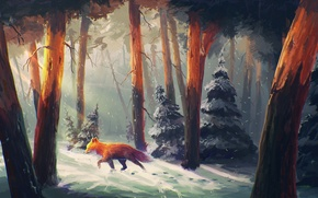 Picture winter, forest, snow, trees, traces, tree, art, Fox