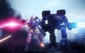 Picture the city, ruins, art, Gundam, Mobile Suit Gundam, RX-78-2, RX-78-2 Gundam, Mad Cat, MechWarrior