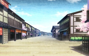 Picture the sky, street, home, Sakura, Japan, game, Kaji wait to wring Kaguya, deserted
