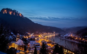 Picture winter, snow, the city, river, mountain, home, the evening, Germany, fortress, Germany, The District Of …