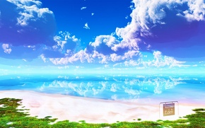 Picture sea, beach, the sky, clouds, landscape, surface, reflection, plate, Paradise, and-k