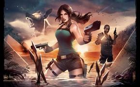Wallpaper shorts, water, guns, girl, lara croft, tomb raider