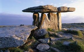Picture the sky, grass, sunset, stones, plain, dolmen, Megalit