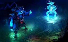 Picture water, river, lightning, art, copy, Dota 2, Storm Spirit, Raijin