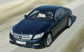 Picture road, blue, background, coupe, Mercedes-Benz, Mercedes, the front, CL-class
