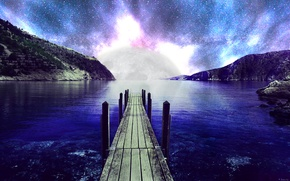 Picture sea, the sky, Islands, space, stars, the ocean, the moon, photoshop, moon, Landscape, sky, sea, …