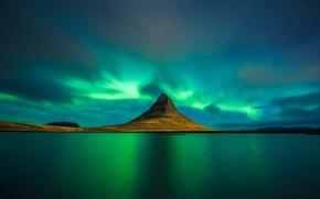Picture reflection, Northern lights, reflection, Iceland, Kirkjufell, aurora borealis, slande
