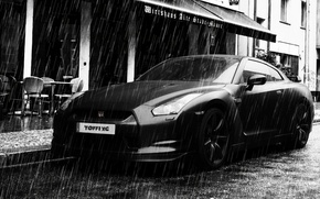 Picture machine, rain, street, Nissan, Nissan