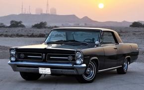 Picture the sky, the sun, black, horizon, classic, Pontiac, Pontiac, the front, Grand Peaks, Grand Prix, ...