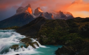 Picture the sky, clouds, river, rocks, threads, South America, Patagonia, the Andes mountains