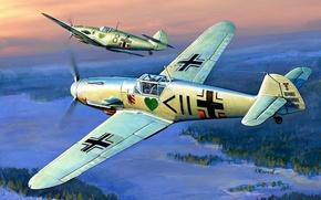 Picture the plane, figure, the second world, Me-109, Air force, Luftwaffe, Messerschmitt, Bf -109F2, messerschmitt, Zhirnov, …