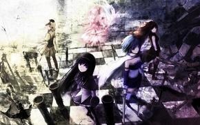 Picture weapons, girls, sword, anime, art, mahou shoujo madoka magica, homura akemi, madoka kaname, sayaka miki, …