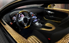 Picture auto, gold, panel, leather, devices, the wheel, sports car, salon, Mansory, Bugatti Veyron 16.4 LINEA …