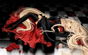 Picture girl, roses, stockings, dress, lies, zettai ryouiki, chii, chobits