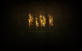 Picture fire, fire, black background, burning letters