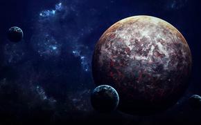 Picture planets, sci fi, lava