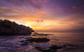 Picture beach, rock, the ocean, dawn, Mexico