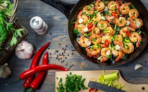 Picture shrimp, pepper, pepper, shrimps, dish with seafood, dish with seafood