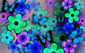 Wallpaper flowers, collage, petals, wings, butterfly